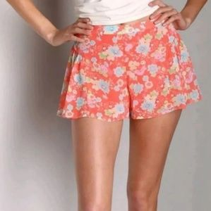 Free People Coral Floral Flowy Shorts Size 2